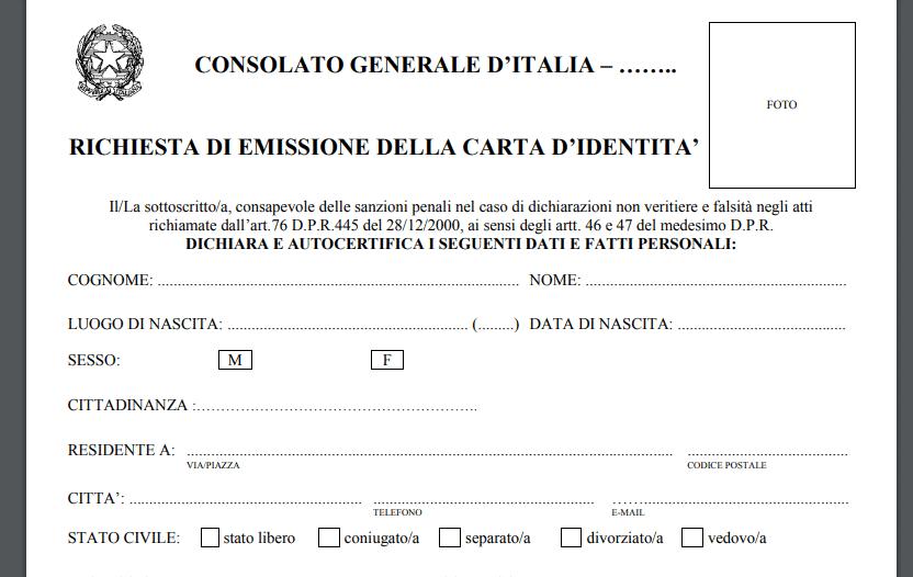 formulario carta de identidad italiana
