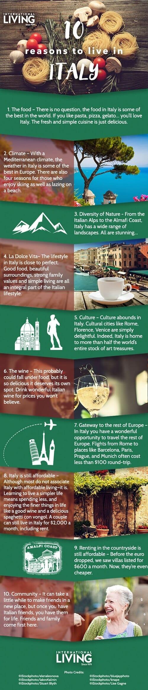10 razones por las que te encantará vivir en Italia #infografía